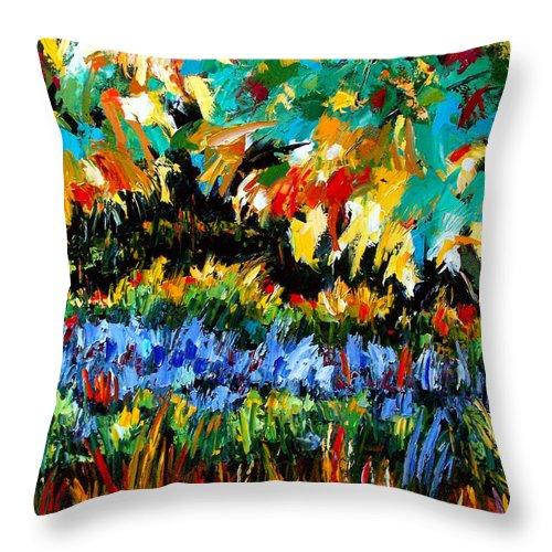 Landscape Throw Pillow featuring the painting Secret Garden by Debra Hurd
