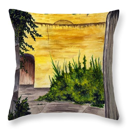 Garden Throw Pillow featuring the painting Secret Garden by Michael Vigliotti
