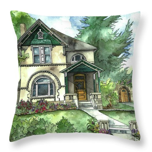 Vintage House Throw Pillow featuring the painting Secret Garden by Shelley Wallace Ylst