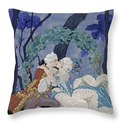 Secret Kiss Throw Pillow featuring the painting Secret Kiss by Georges Barbier