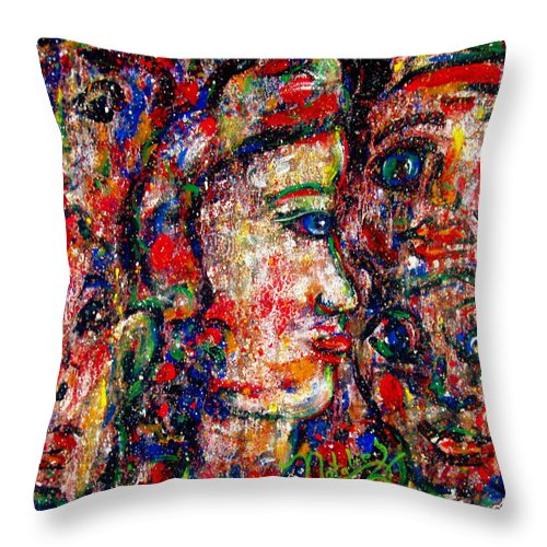 Free Expressionism Throw Pillow featuring the painting Secret Lovers by Natalie Holland