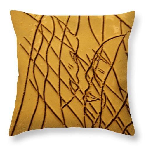 Jesus Throw Pillow featuring the ceramic art Secret Smiles - Tile by Gloria Ssali