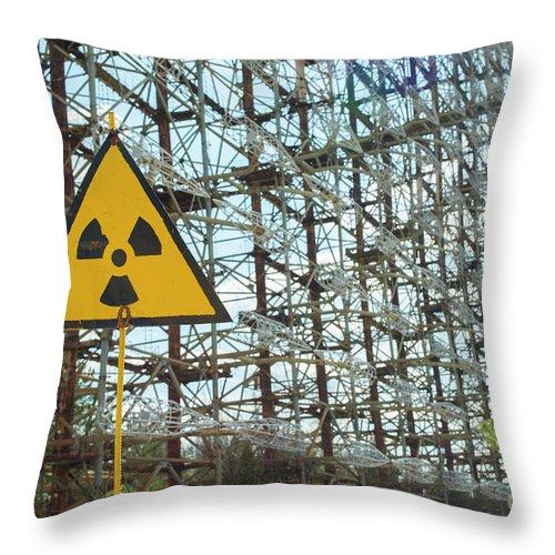 Radioactive Throw Pillow featuring the photograph Secret Soviet Antenna Called Duga Radar Hidden In Chernobyl Zone by Juli Scalzi
