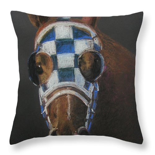 Secretariat Throw Pillow featuring the pastel Secretariat - Jewel Of The 1973 Triple Crown by Arline Wagner