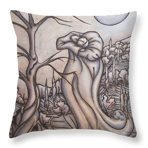 Dream. Moon Throw Pillow featuring the painting Secrets And Dreams by Judy Henninger