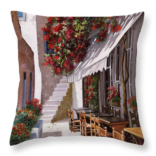 Greece Throw Pillow featuring the painting Sedie E Tavoli by Guido Borelli