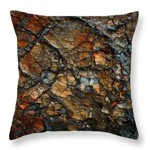 Abstract Throw Pillow featuring the digital art Sedimentary Abstract by Dave Martsolf
