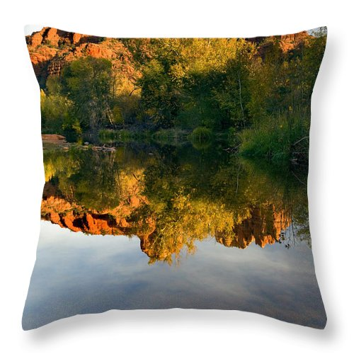 Reflection Throw Pillow featuring the photograph Sedona Sunset by Mike Dawson