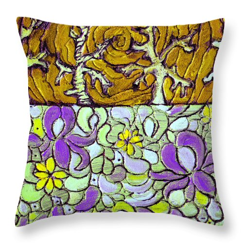 Meadow Throw Pillow featuring the painting Seduced By The Meadow by Wayne Potrafka