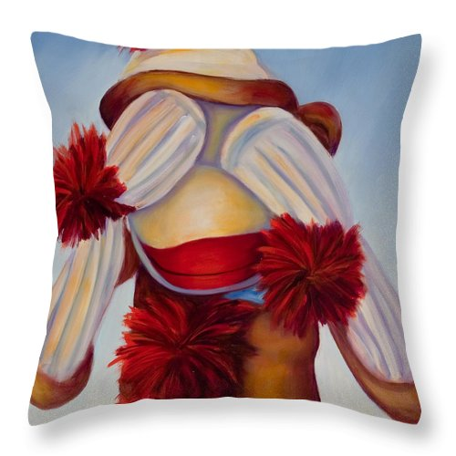 Children Throw Pillow featuring the painting See No Bad Stuff by Shannon Grissom