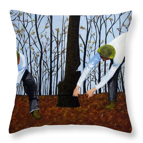 Brian Wallace Throw Pillow featuring the painting See What I Saw - 2d by Brian Wallace