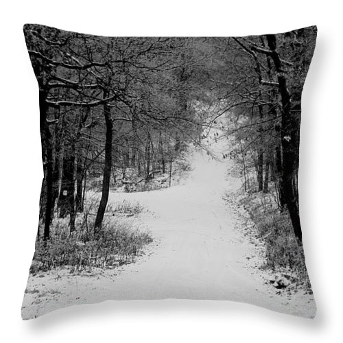 Snow Throw Pillow featuring the photograph See Where It Leads. by Jean Macaluso