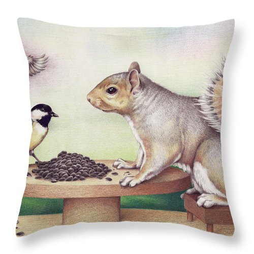 Squirrel Throw Pillow featuring the drawing Seed For Two by Amy S Turner