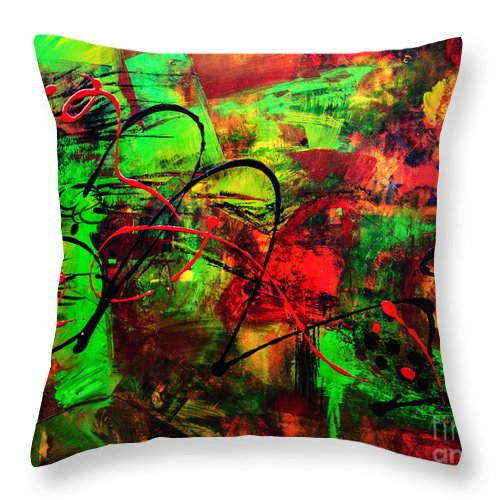Colorful Abstract Art Throw Pillow featuring the painting Seed Of Knowing by Francine Collier
