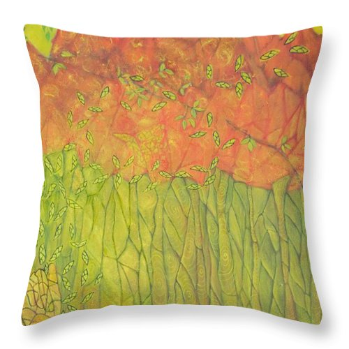 Abstract Spiritual Throw Pillow featuring the painting Seeds Of Creation by Neena Alapatt