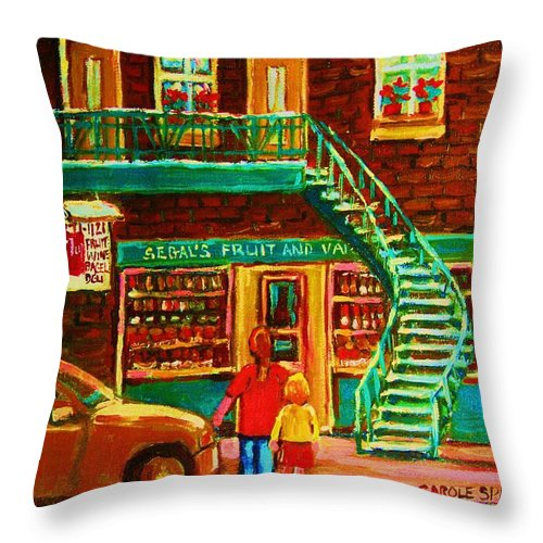 Staircases Throw Pillow featuring the painting Segal's Fruit And Variety Store by Carole Spandau