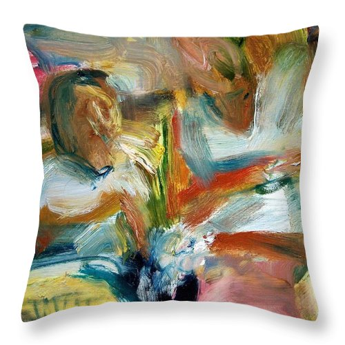 Dornberg Throw Pillow featuring the painting Selecting Vegetables by Bob Dornberg