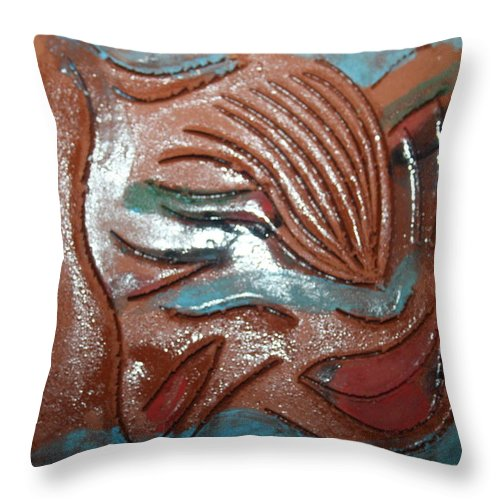 Jesus Throw Pillow featuring the ceramic art Selene -tile by Gloria Ssali