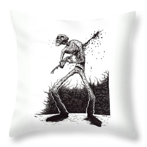 Dark Throw Pillow featuring the drawing Self Inflicted by Tobey Anderson
