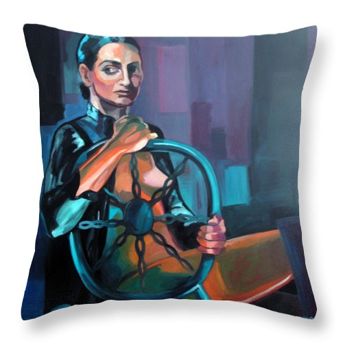 Nudes Paintings Throw Pillow featuring the painting Self Portrait 3 by Carmen Stanescu Kutzelnig