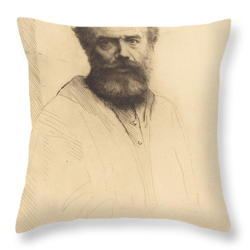 Throw Pillow featuring the drawing Self-portrait, 3rd Plate by Alphonse Legros