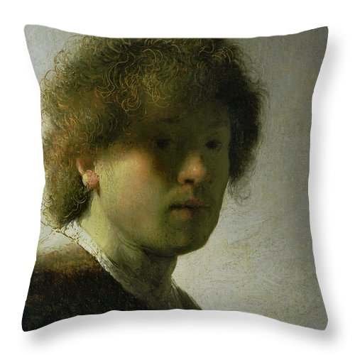 Self Throw Pillow featuring the painting Self Portrait As A Young Man by Rembrandt