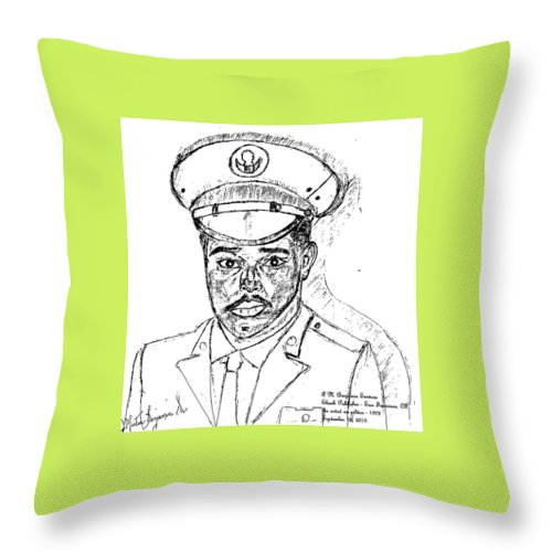 Soldier Throw Pillow featuring the digital art Self Portrait As Soldier by Anthony Benjamin