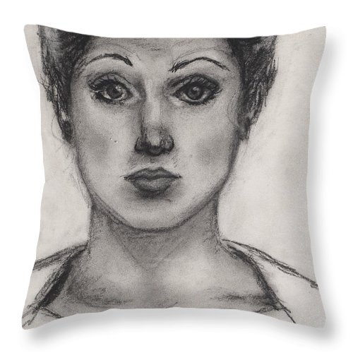Nadine Throw Pillow featuring the drawing Self Portrait At Age 18 by Nadine Rippelmeyer