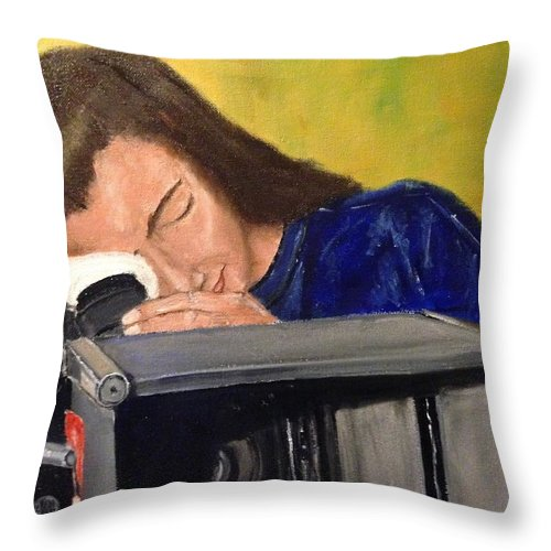 From The Days Of 35mm Film Production. Throw Pillow featuring the painting Self Portrait by Diane Donati