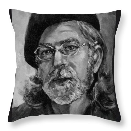 Self Portrait Throw Pillow featuring the painting Self Portrait In Grey by Dennis Tawes