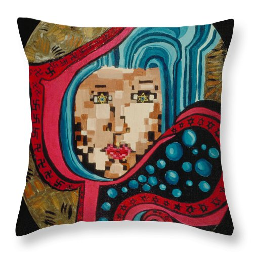 Jandrel Throw Pillow featuring the painting Self Portrait by J Andrel