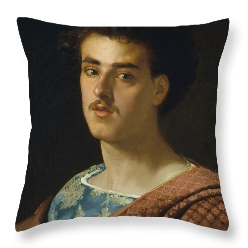 Maria Fortuny Throw Pillow featuring the painting Self-portrait by MotionAge Designs