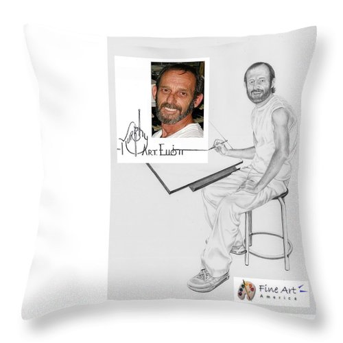 Pencil Throw Pillow featuring the drawing Self Portrait by Murphy Elliott