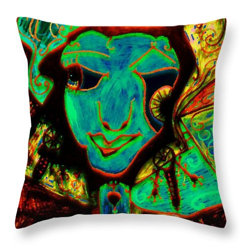 Fantasy Throw Pillow featuring the painting Self Portrait by Natalie Holland
