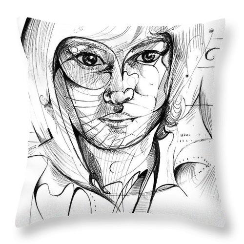 Drawing Throw Pillow featuring the digital art Self Portrait by Nicholas Burningham