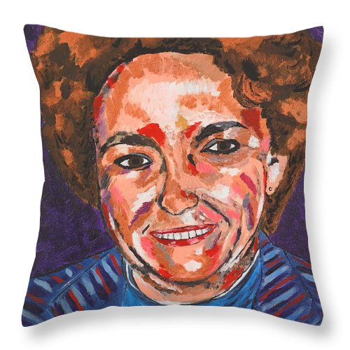 Portrait Throw Pillow featuring the painting Self-portrait With Blue Jacket by Valerie Ornstein