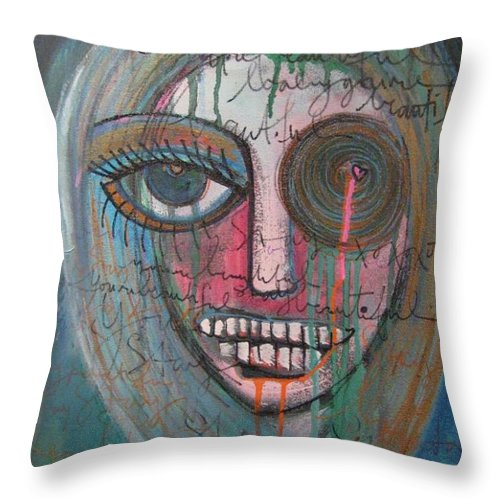 Self Portraits Throw Pillow featuring the painting Self Portrait Youre Beautiful by Laurie Maves ART