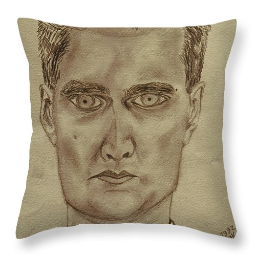 Self-portrait Throw Pillow featuring the painting Self-portraut 1992 France by Robert SORENSEN
