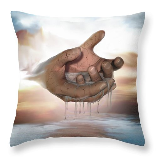Hands Nature Water Landscape Life God Throw Pillow featuring the digital art Self-replenishing Nature by Veronica Jackson