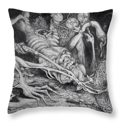 Surrealism Throw Pillow featuring the drawing Selfpropelled Beastie Seeder by Otto Rapp
