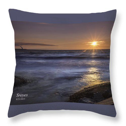 Lake Ontario Throw Pillow featuring the photograph Selkirk Shores Sunset by Scott Reyes