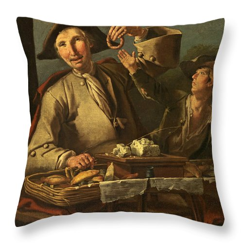 Giacomo Francesco Cipper Throw Pillow featuring the painting Seller Of Sweets And Donuts by Giacomo Francesco Cipper