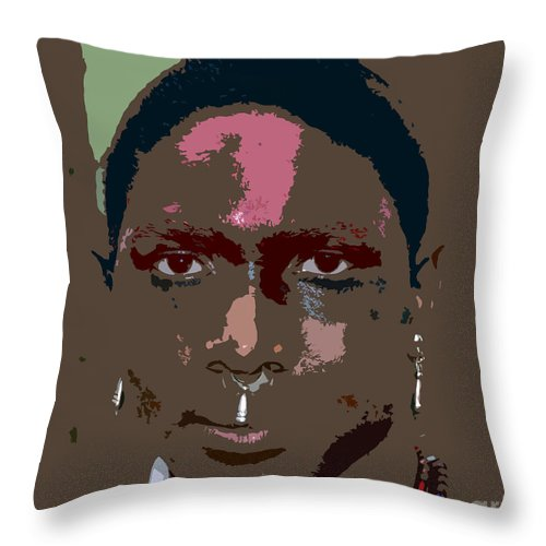 Seminole Throw Pillow featuring the painting Seminole Warrior Work Number Two by David Lee Thompson