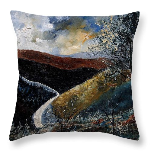 River Throw Pillow featuring the painting Semois Valley by Pol Ledent