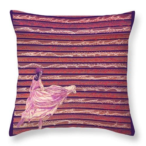Music Throw Pillow featuring the drawing Senorita Dance by Steve Karol