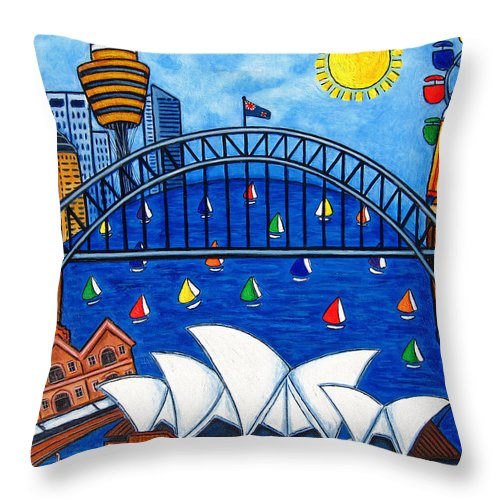 House Throw Pillow featuring the painting Sensational Sydney by Lisa Lorenz