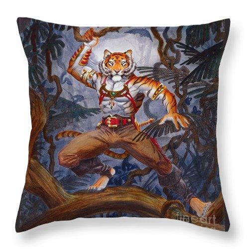 Cat Throw Pillow featuring the painting Sense Dark by Melissa A Benson