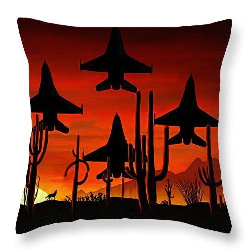Fine Art Throw Pillow featuring the painting Sentinels by David Wagner