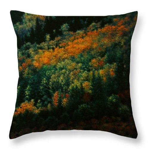 Scenic Throw Pillow featuring the painting Sentinels Of September Serenity by Stephen Lucas