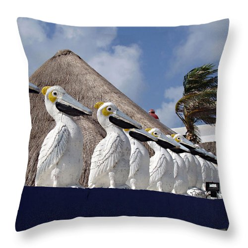 Sentry Pelicans Throw Pillow featuring the photograph Sentry Pelicans by Ellen Henneke